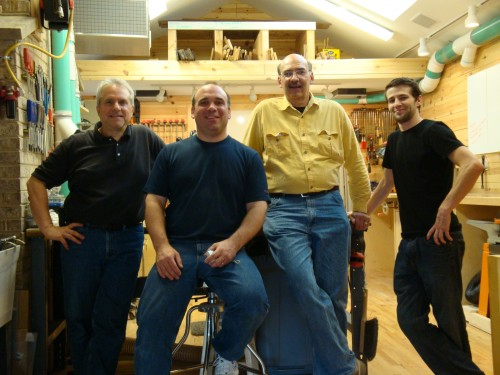 Left to right: Mike, photographer; me; Jim Harrold, Woodcraft Magazine Editor-in-Chief, Mike's assistant John(?)