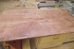 The cherry boards glued up for the bottom raised panels