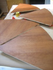 Staining the plywood wedges