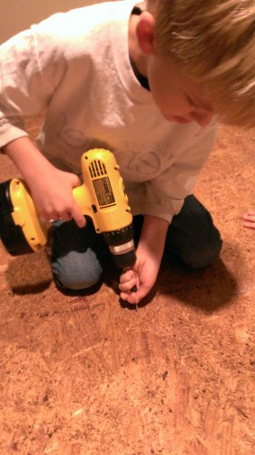 The kids got a chance to learn how to use a screw gun!