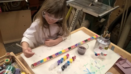 Emma wanted to paint the back of her canjo stick