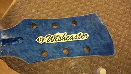 Applying the water slide headstock decal