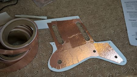Shielding the back of the pickguard with copper foil tape