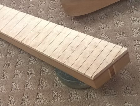 Completed neck blank with fretboard attached.